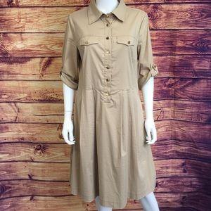 Tory Burch Tan Collar 3/4 Sleeve Cotton Midi Dress